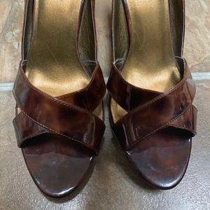 NWOT Diba Tortoise Brown Open Toe Stilettos